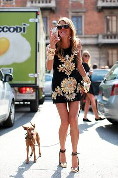 Fall Fashion Trends 2013 | Black and Gold Anna Dello Russo maxed out in gold..   Obsessed  NY Fashion Blogger