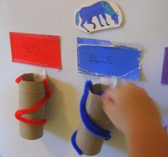 Learning with Pom-Poms: Color Matching and Early Literacy - Simple and fun learning game #preschool #ece #kbn