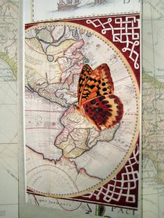 Greetings Card Hand Made Illustrated Ancient map by modestly, £3.00