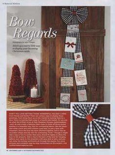 Christmas Bow Card Holder - As Seen In Southern Lady Magazine Nov/Dec 12