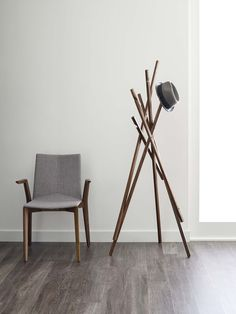 Sticks Coat Rack from Davis Furniture - shown with the Rhombus Chair