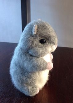 Needle Felted Animal Needle Felted Hamster grey  life size hamster  OOAK Handmade soft sculpture miniature pet Gift Idea Hamster pet unique