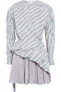 Balenciaga - Gathered Wrap-effect Striped Jacquard Mini Dress - Blue - FR38