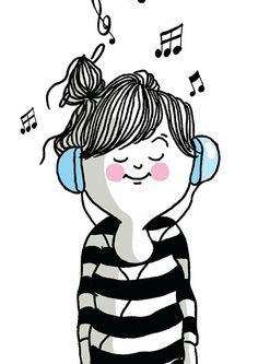 Oyendo música....