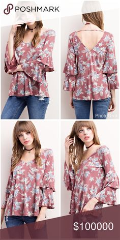 Faded floral ruffle bell sleeve top - back detail! 3 quarter double ruffle bell sleeve faded wine - blue and taupe top with back detail! A team favorite Tops