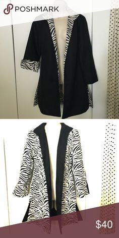 Reversible animal print/black lightweight jacket Cotton blend, packs well, dress up or down. Worn only once Jackets & Coats
