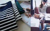 Classic all-match stripe shirt o-neck 2013 new autumn
