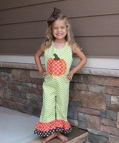 Look at this #zulilyfind! Lime Green Chevron Pumpkin Overalls - Infant & Toddler by The Smocked Shop #zulilyfinds