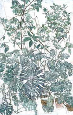 Sam Szafran (né en 1934), Les Philodendrons, aquarelle sur papier, signée, 74 x 47 cm. Estimation : 30 000/40 000 €. Mardi 30 décembre, Deauville. Tradart Deauville SVV.