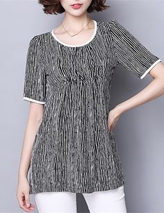 Women's Casual/Daily Plus Size Summer T-shirt,Striped Round Neck Short Sleeve…          3X/5X13