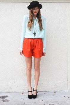 Shop this look on Kaleidoscope (blouse, shorts, heels, hat, necklace)  http://kalei.do/W5L7JMt70vYONX0E