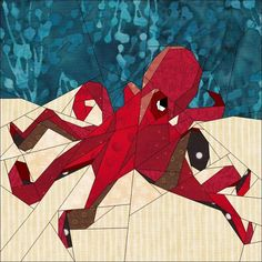 (7) Name: 'Quilting : August BoM Oceans - Red Octopus