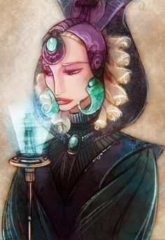 Duchess Satine (looking at a hologram of Obi-Wan)