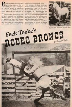 """Feek Tooke's Rodeo Broncs"", old article from ""Western Horseman"", page 1."