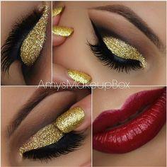 Beautifully smoked winged eye, stunning gold glitter and bold red lip.  #MugCheck