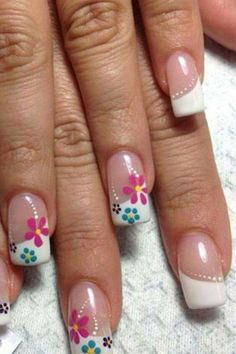 Nail art is one of many ways to boost your style. Try something different for each of your nails will surprise you. You do not have to use acrylic nail designs to have nail art on them. Here are several nail art ideas you need in spring! Cute Spring Nails, Spring Nail Art, Summer Nails, Cute Nails, Pretty Nails, My Nails, French Nail Designs, Nail Designs Spring, Toe Nail Designs