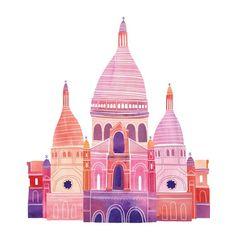Impresión digital de una ilustración de mi serie de aquí allá &. Imagen se imprime en papel de acuarela de calidad de archivo de 12 x 12.    Cada