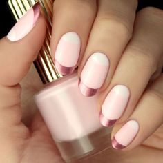 nails.quenalbertini: Rose Gold & Pink Valentine's Day Nail Tutorial | Lulus