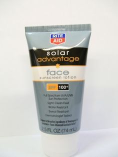 Rite Aid Solar Advantage Sunscreen Lotion, Face, SPF 100+, 2.5 oz by Rite Aid. $6.99. Sunscreen Lotion, Face, SPF 100+, 2.5 oz. Full Spectrum UVA/UVB sun protection. Light, clean feel, water resistant, sweat resistant, dermatologist tested. Compare to the active ingredients in Neutrogena Spectrum + Face Advanced Sunblock Lotion (This product is not manufactured or distributed by Neutrogena Corporation, distributor of Neutrogena Spectrum + Face Advanced Sunblock Lotion...