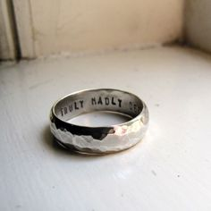 Mans Wedding Band  Hammered Silver by tinahdee on Etsy, $140.00