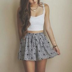 White crop top with high waisted printed skirt