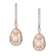 Fabergé Treillage Diamond Rose Gold Polished Earrings #Fabergé #Treillage…