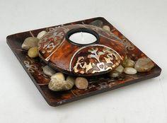14,80€ Portavelas marrón pintado sobre base cuadrada 15cm