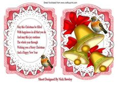 Gold bells with red bow in bracket card verse on Craftsuprint - Add To Basket!