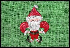 Christmas Santa Fleur de lis Indoor or Outdoor Mat 18x27 Doormat, Multi