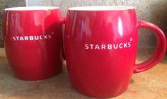 STARBUCKS Mug 2011 Bright Red Barrel Etched White Logo Coffee Cup 14 oz Lot 2 #Starbucks