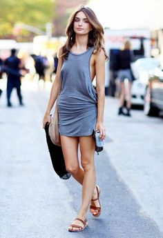 Pair an easy summer tank dress with saddle brown sandals // #StreetStyle