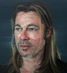 Brad Pitt by Colin Davidson (born Oil on canvas Stretcher: 127 × cm. Gift of The Lowry Wallace Collection (Ireland) © 2013 Colin Davidson. Realistic Paintings, Realistic Drawings, Oil Paintings, Colin Davidson, Oil Portrait, Portrait Paintings, National Portrait Gallery, Celebrity Portraits, First Art