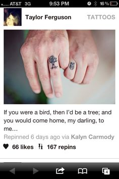Couple tattoo...love the thought.. perhaps a sparrow and nicer tree, maybe bigger on another part of body