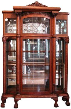 Victorian Oak China Closet.