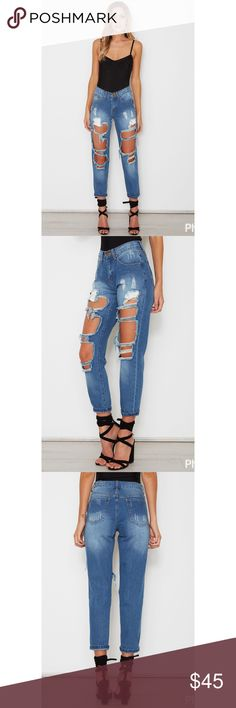 WhiteFox Boutique Boyfriend Ripped Dark Jeans NWT AUS size 8 (US S/4). NWT. Hands-down, your favorite pair of jeans!!  Darker blue, distressed with unique rips.  Mid-rise work little to no stretch denim. White Fox Boutique  Jeans Boyfriend