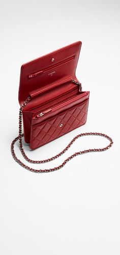 CHANEL Red lipstick wallet in quilted lambskin with a long chain 4.9 x 7.7 x 1.8 Inches 12-08-14