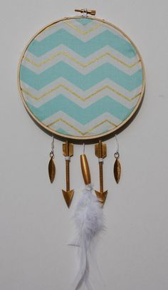 Little Warrior Small Hoop in Baby Blue & Gold by slateandsage