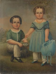 American oil on panel portrait of a boy and girl