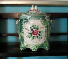 Vintage Floral Porcelain Cookie Jar, Biscuit Jar, Cracker Jar, Japan