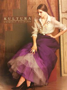 Hand painted barong with ball gown skirt from Kultura