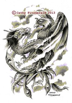 A4 Dragon Phoenix Japanese Tattoo Art Print by misslilylocket