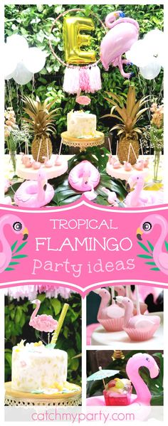 With summer in full swing you'll love this Tropical Flamingo birthday party. Love the cake pops!! See more party ideas and share yours at catchMyParty.com