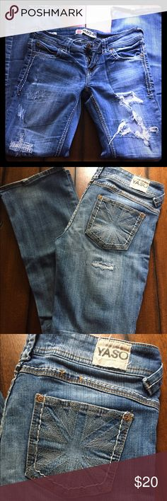 """YASO Straight Leg Denim Trendy sturdy jeans! Size 7/8, 30.5"""" inseam. Distressed/destructed, medium blue wash. Dress these up or wear them with your favorite sneakers & a tee! YASO Jeans Straight Leg"""