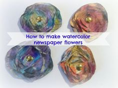 How to make newspaper flowers/ DIY Mixed media Watercolor newspaper flowers