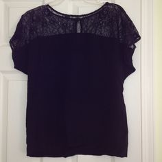 Lace Silky Top Pretty, feminine lace silky top. Keyhole button back detail. Forever 21 Tops
