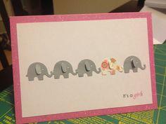 Pinterest inspired Baby Shower card using an elephant Martha Stewart craft punch. It's a girl!