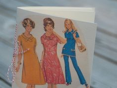 1960s Ladies Jotter Notebook made from vintage pattern, breast cancer fund