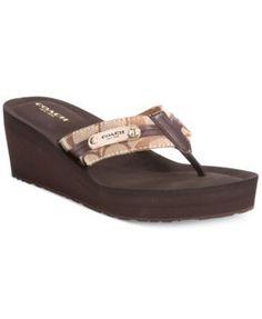 858655e2080 COACH Jaden Wedge Flip Flops Shoes - Sandals   Flip Flops - Macy s