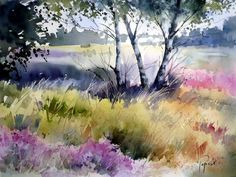 The Artist Jean Claude Papeix Watercolor Projects, Watercolor Landscape Paintings, Watercolor Trees, Watercolor Artists, Watercolor Techniques, Watercolor And Ink, Landscape Art, Beautiful Landscapes, Painting Inspiration