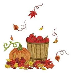 "Fall Greetings machine embroidery design by Sweet Heirloom - H/W:3.83"" x 3.79"""